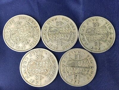Great Britain, George Vi Halfcrown Collection, Silver, 5 Coins, 1947-1951