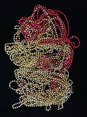 VINTAGE MERCURY GLASS BEADS GARLAND Small Red, Gold Christmas