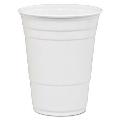 SOLO Party Plastic Cold Drink Cups 16-18 oz White 50/Bag 1000/Carton P16W