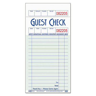 National Checking Company GuestChecks Pad w/Record Receipt Stub 3 1/2 x 6 3/4