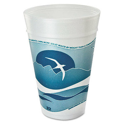 Dart Horizon Foam Cup Hot/Cold 32 oz. Printed Aqua/White 25/Bag 20 Bags/Carton