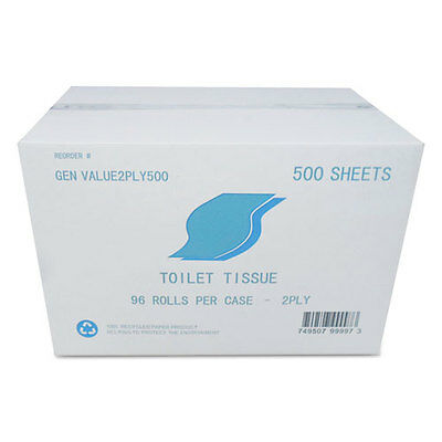 GEN Small Roll Bath Tissue 2-Ply White 500 Sheets/Roll 96/Carton VALUE2PLY500