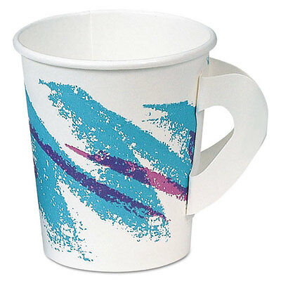 SOLO Jazz Hot Paper Cups with Handles 6oz. Polycoated Jazz Design 50/Bag 20/CT