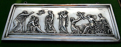 "After Bertel Thorvaldsen - Antique Silverplate Relief Plaque  ""Ages of Love"""