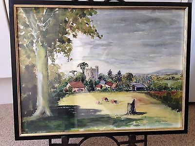 Old original watercolor painting signed H.Newbold mid 20th century