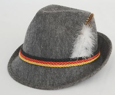 Oktoberfest Bavarian style souvenir gray hat with tri-colored bands Polyester