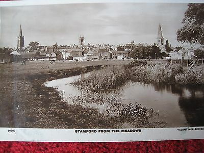 Lincolnshire:  Stamford From The Meadows.  Real Photographic Postcard.