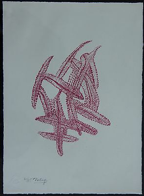 """Original signed and numbered etching """"Feathers"""" by Mark Tobey"""