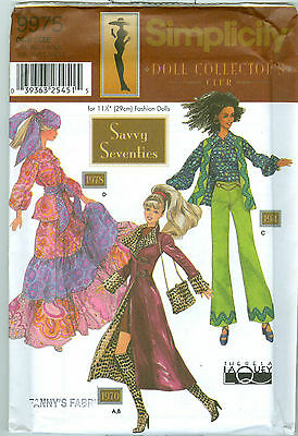 Uncut BARBIE SAVVY SEVENTIES Doll Collector's Club Simplicity 9975 Clothes