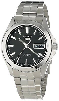 Seiko 5 SNKK93 Men's Stainless Steel Black Dial Day Date Automatic Watch