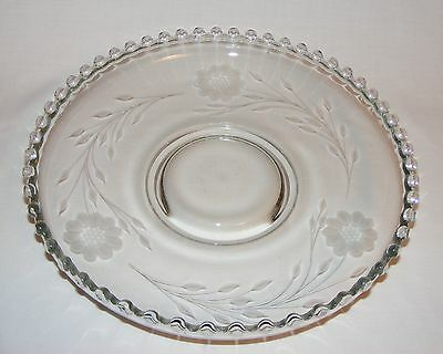Vintage Hughes Cornflower Glass Candlewick Fruit Bowl Tray