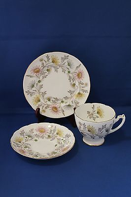 VINTAGE 1950's COALPORT SOMERSET PATTERN TRIO, CUP AND SAUCER, WITH SIDE PLATE