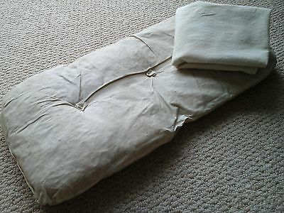 Rare Original Antique French Ticking Mattress/Cover for Doll Bassinet/Cot~1800s
