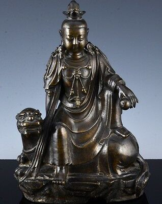 Very Rare Chinese Early Ming Dynasty Guanyin Sitting On Buddhist Lion Figure