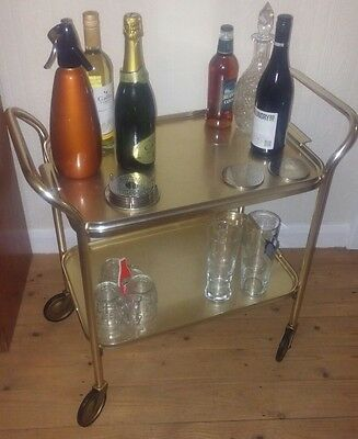 vintage retro hostess cocktail drinks hollywood trolley cart 2 tier gold VGC
