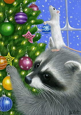 Raccoon mouse decorating Christmas tree ornaments limited edition aceo print art