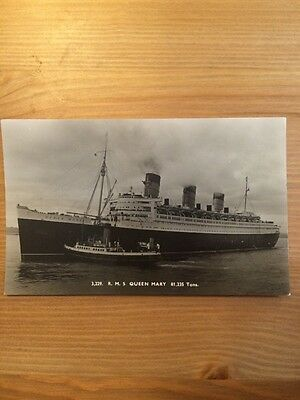 R. M. S. Queen Mary - Black And White Postcard