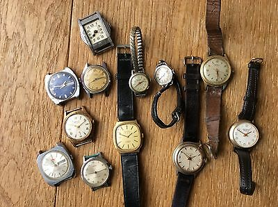 Job lot of 12 vintage wrist watches for spares or repair
