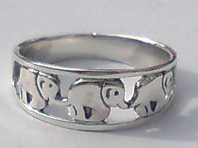 SOLID STERLING SILVER ELEPHANT DESIGN BAND RING 8mm.WIDE SEVERAL SIZES.£15.95nwt
