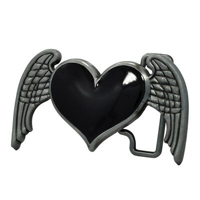 Red Heart with Wings Belt Buckle Brushed Metal