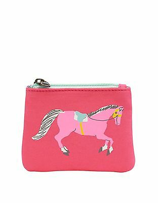 Joules GIRLS PURSE zip up coin purse with horse design - PINK