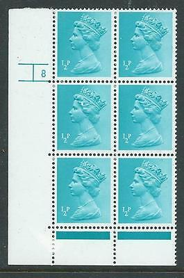 X924, MACHIN 1/2p PP CYLINDER 8 NO DOT BLOCK OF 6 SUPERB UNMOUNTED MINT