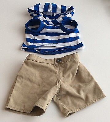 Build A Bear Clothes - Blue And White Stripped Top And Tan Shorts