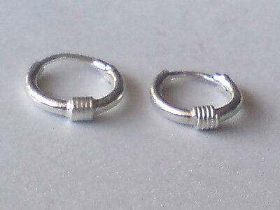 PRETTY STERLING SILVER  8mm. VERY TINY BALI HOOP EARRINGS £3.95 NWT