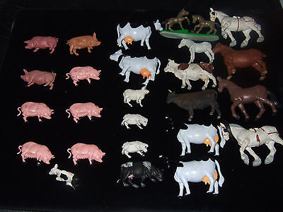 Collection of farm animals, sheep, pigs, cows, sheep and horses