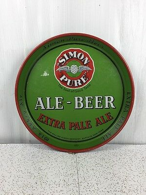 Simon Pure Ale Beer Tray Vintage Metal Sign RARE Old Abbey Ale