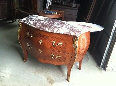 French Style Marquetry Inlaid Marble Top Bombe Commode w Bronze Ormolu Trim