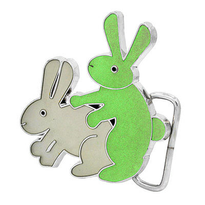 White Humping Bunnies GLOW in the DARK Funny Adult Humor Belt Buckle NEW