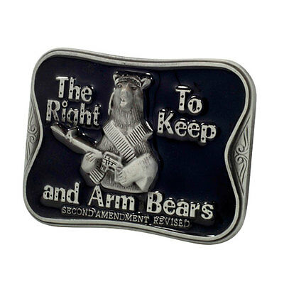 THE RIGHT TO KEEP AND ARM BEARS Funny Humor BLACK Belt Buckle