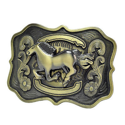 Bronze Running Horse Western Belt Buckle Country Unique Metal New Hip Cool