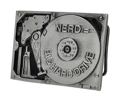 Nerd Equals Big Hard Drive Belt Buckle Funny Metal Cool Unique Hip New