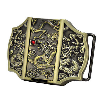 GOLD Chinese Dragons Removeable Lighter Belt Buckle Red Jeweled Asia Cool