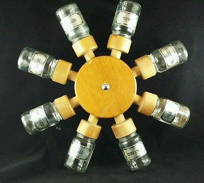 FAB Vintage Retro 60s 70s Original Rotating Spice Rack Wheel With Fittings Jars