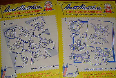 2 VTG Aunt Martha's Hot Iron Transfer Embroidery Days of Week Kittens Dutch Girl
