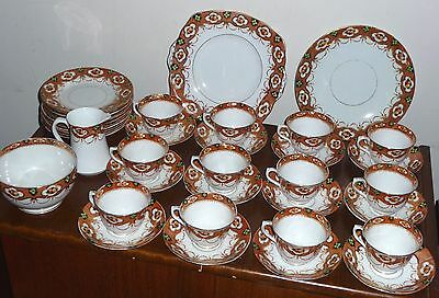 Superb antique Royal Albert Crown China Imari-style tea set 39 pcs