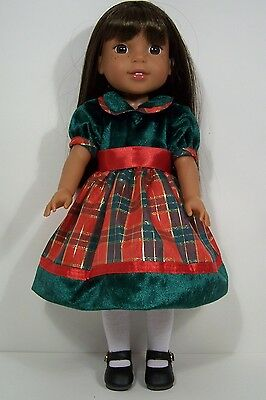RED GREEN Christmas Dress Doll Clothes For 14 American Girl Wellie Wishers (Debs