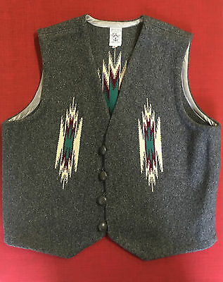VINTAGE ORTEGA'S Chimayo NM Hand-Woven ALL WOOL Indian Blanket VEST Gray Size 46