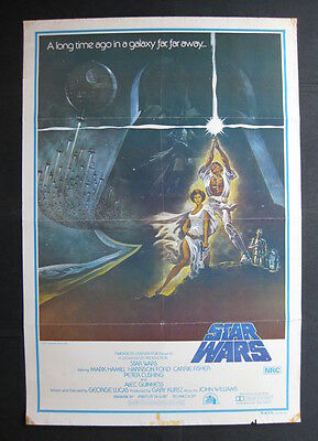 STAR WARS 1977 Rare 1st printing original Australian movie poster Carrie Fisher