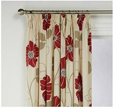 "SALE! 100% Cotton Poppy Red Cream Floral Tape Top Pair Curtains 46x72"" 117x183cm"