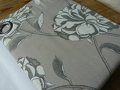 "Mocha Cotton Floral Fully Lined Eyelet Pair of Curtains 90x90"" 228x228cm"