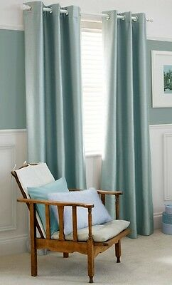 Elegant Pair Faux Silk Fully Lined EYELET Duck Egg Curtains 168x183 cm, 66x72""