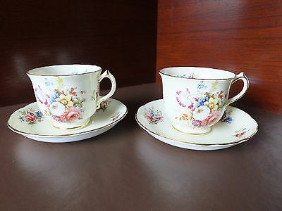 TWO HAMMERSLEY & Co CUPS & SAUCERS, PATTERN 3237, SIGNED F HOWARD.