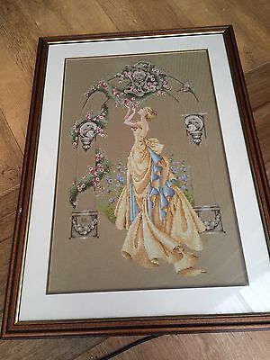 Framed Embroidery Large Stunning Lady Must See Vintage Must Have