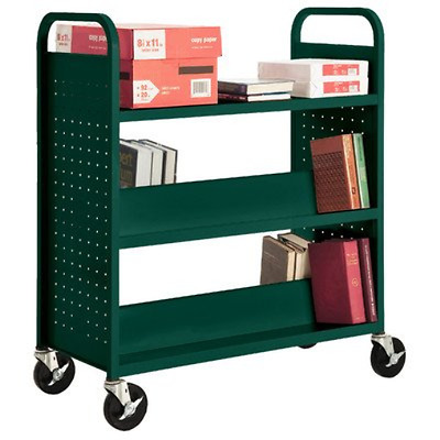 "Sandusky Lee SFV336-08 Combination Top Flat Shelf Book Truck, 19"" Length, 39"" 5"
