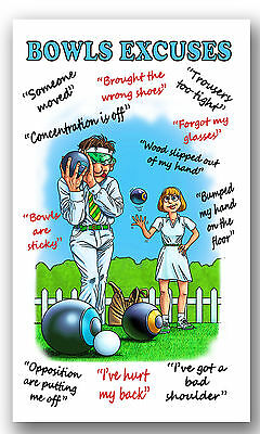 Mens Ladies Bowls Bowling Excuses Gift Present  Microfibre Tea Towel