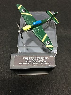 1988 Cracker Jill Cracker Jack Metal TootsieToy Stuka Green Yellow Airplane Pin